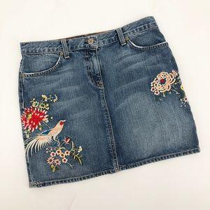 J.CREW Embroidered Denim Mini Skirt Bird Floral